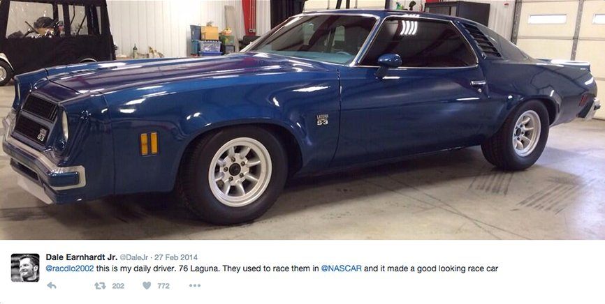 Dale's Tweet about his car