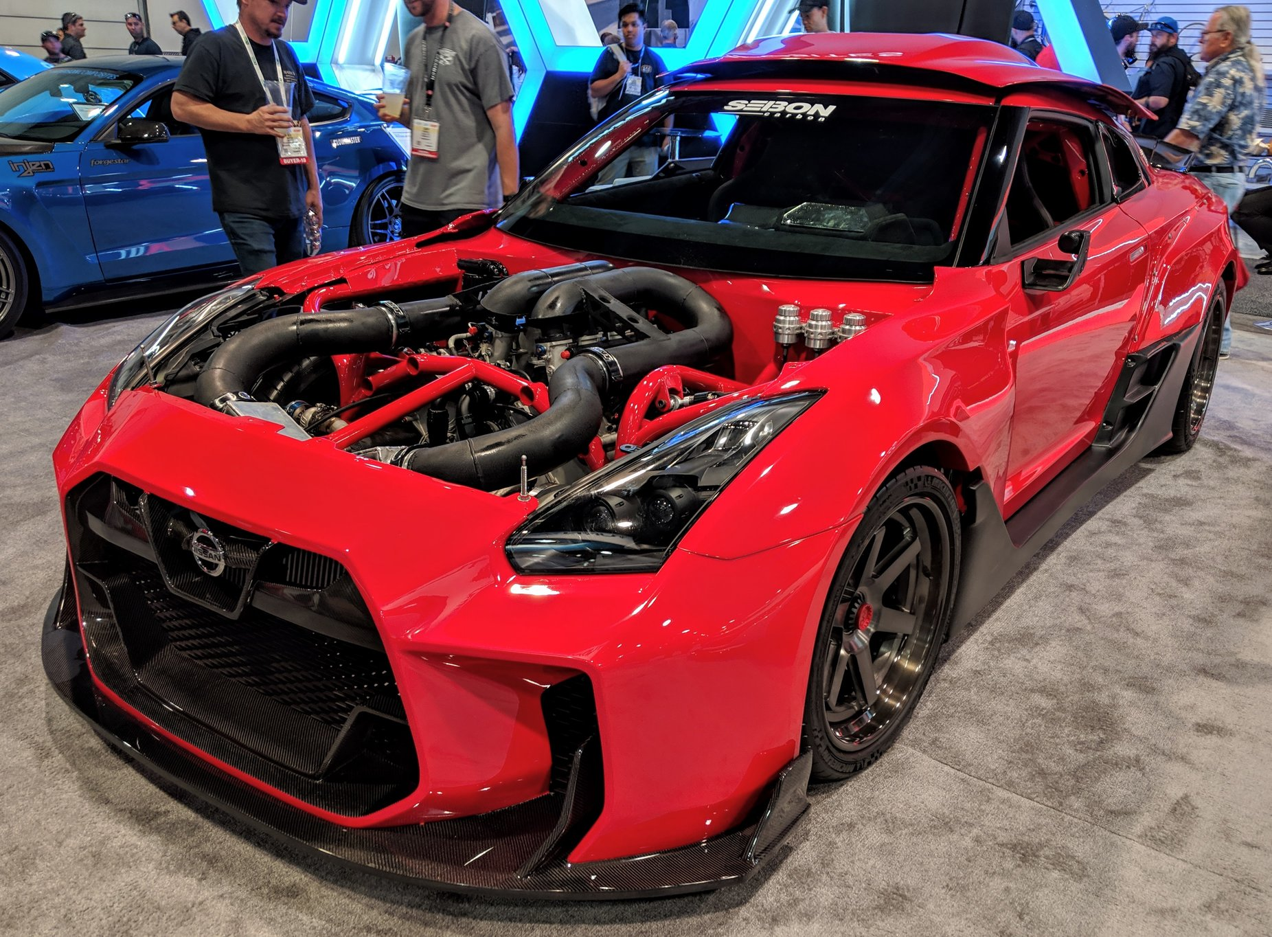 R35Hundred Design's Nissan GT-R specZERO with a Daytona Prototype Nissan 45 V8 racing engine at SEMA 2018
