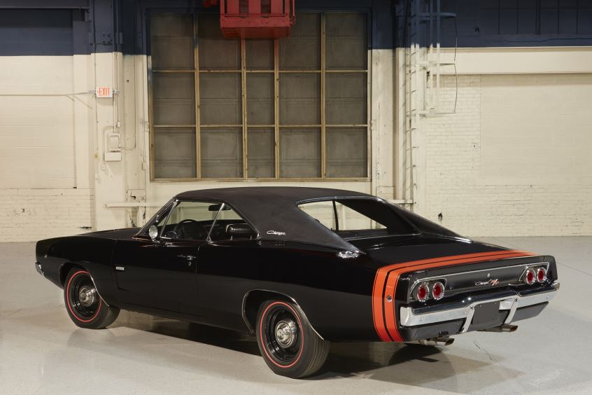 Back View of Black 1968 Dodge Charger
