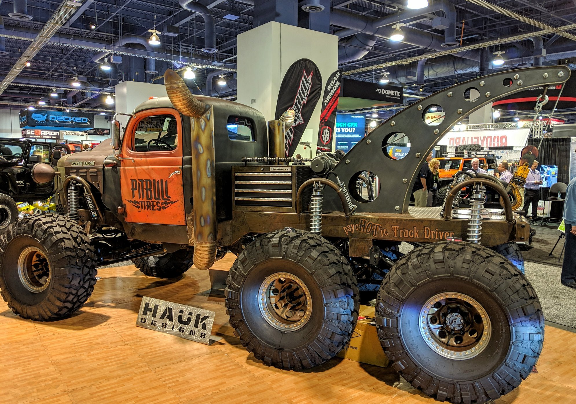 The Wrecker Power Wagon by Hauk Designs at the Pit Bull Tires booth at SEMA 2018